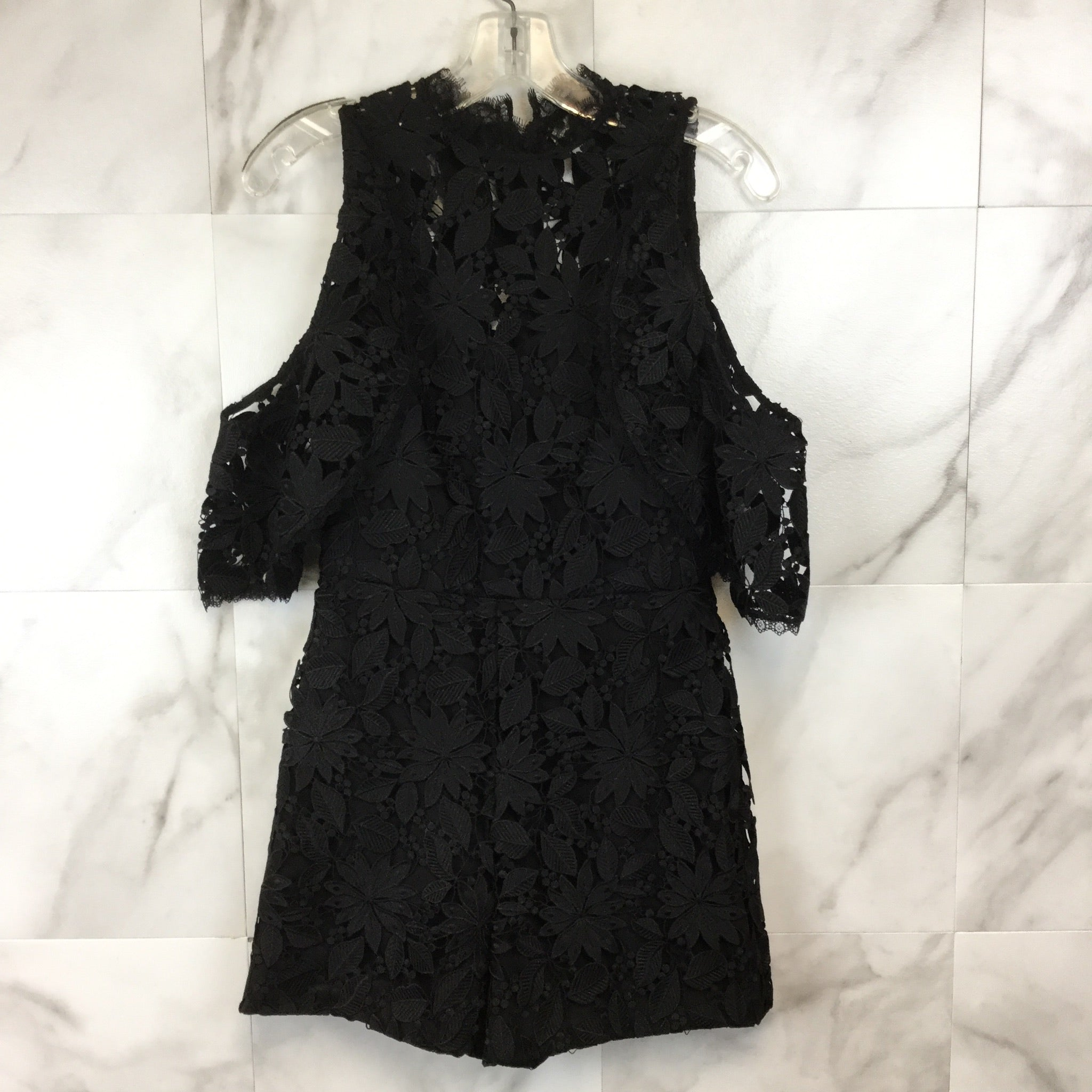 Alice + Olivia Junie Cold-Shoulder Lace Romper - size 2