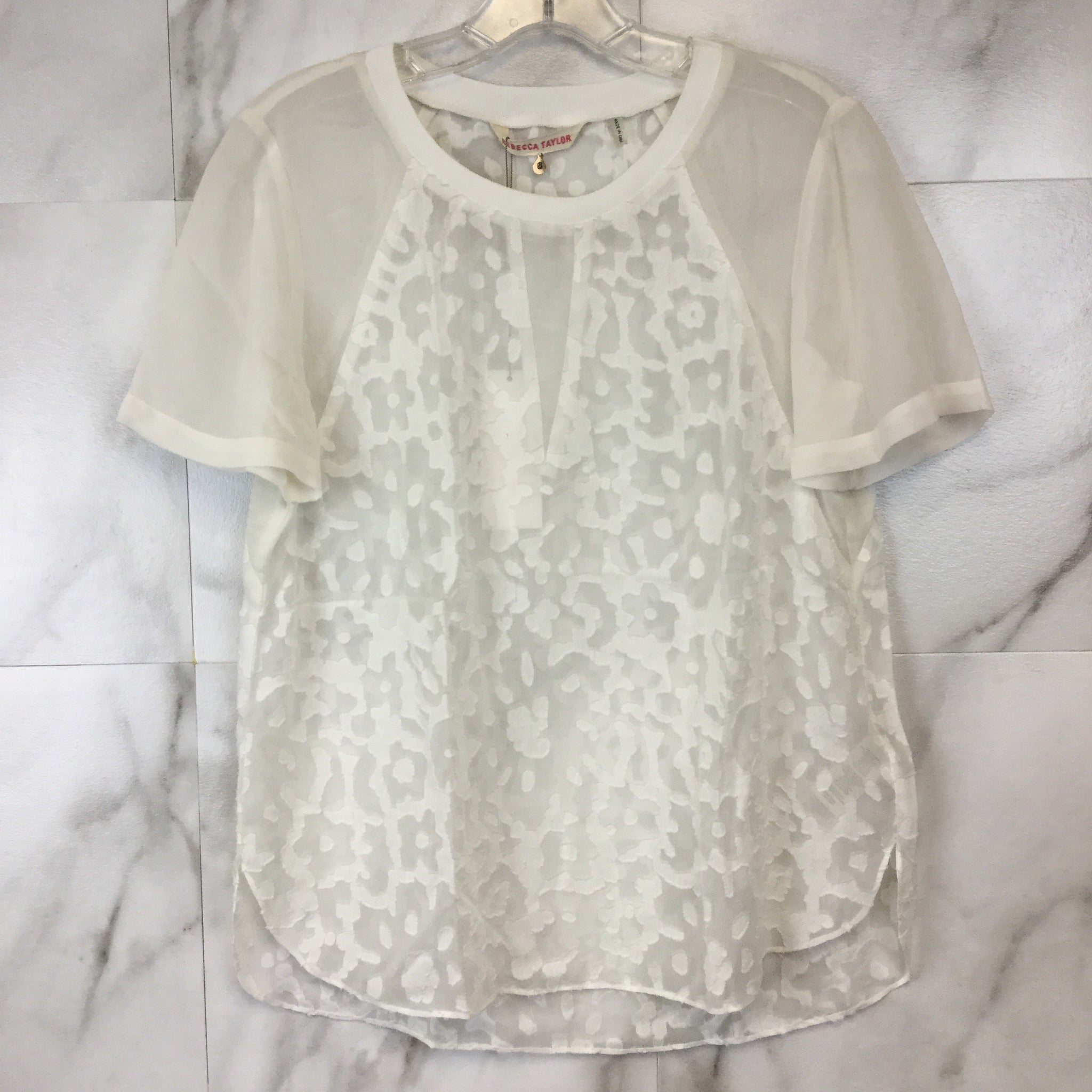 Rebecca Taylor Cap Sleeve Lace Clip Voile Top - size 6