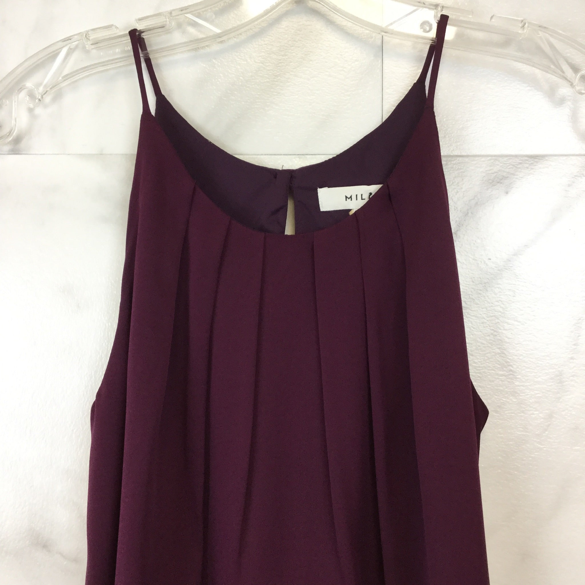 Milly Pleated Stretch Silk Tank Top - size 0