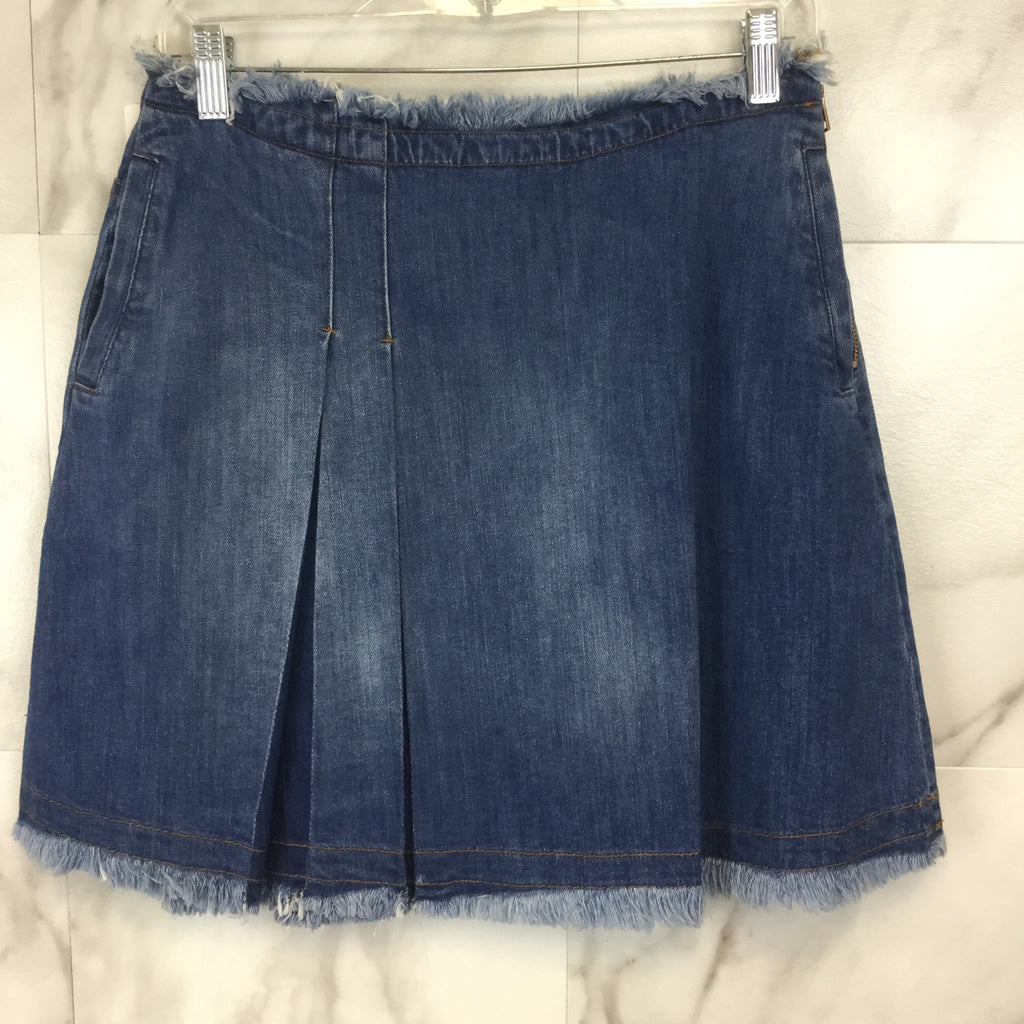 See by Chloé Denim Mini Skirt with Fringe Trim - size 28
