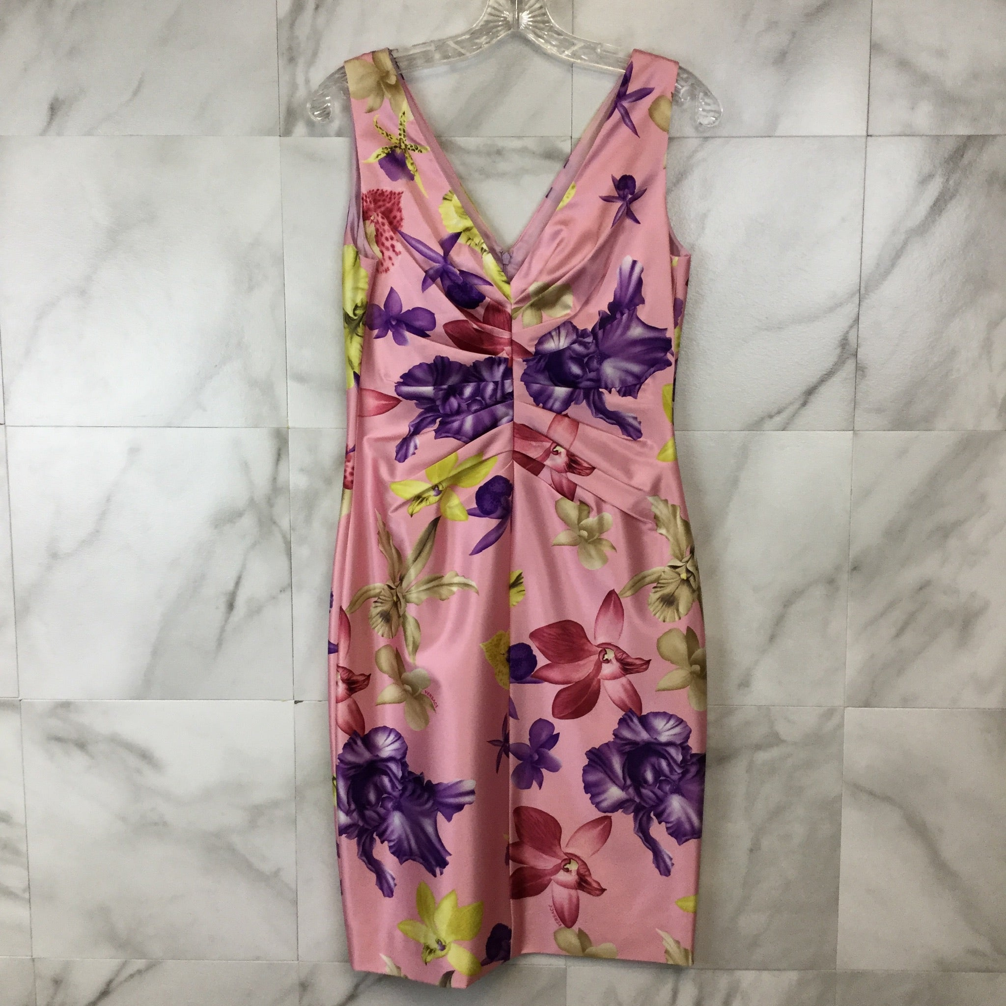 Versace Floral Ruched Sheath Dress - size 8