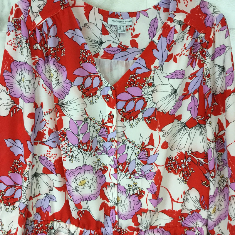 Carolina Belle Montreal Red Floral Romper - size 6