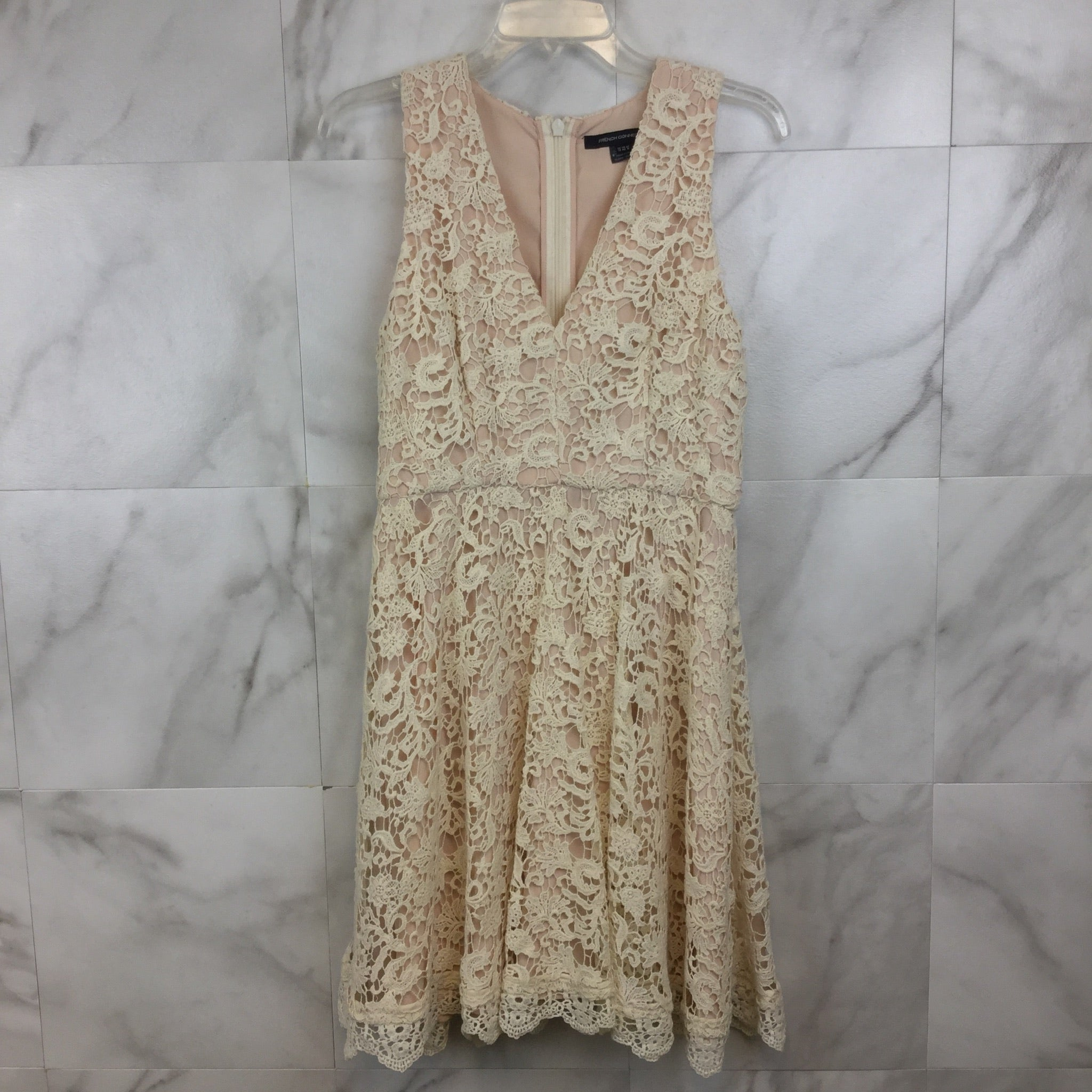 French Connection Natural Aline Crochet Dress- size 8