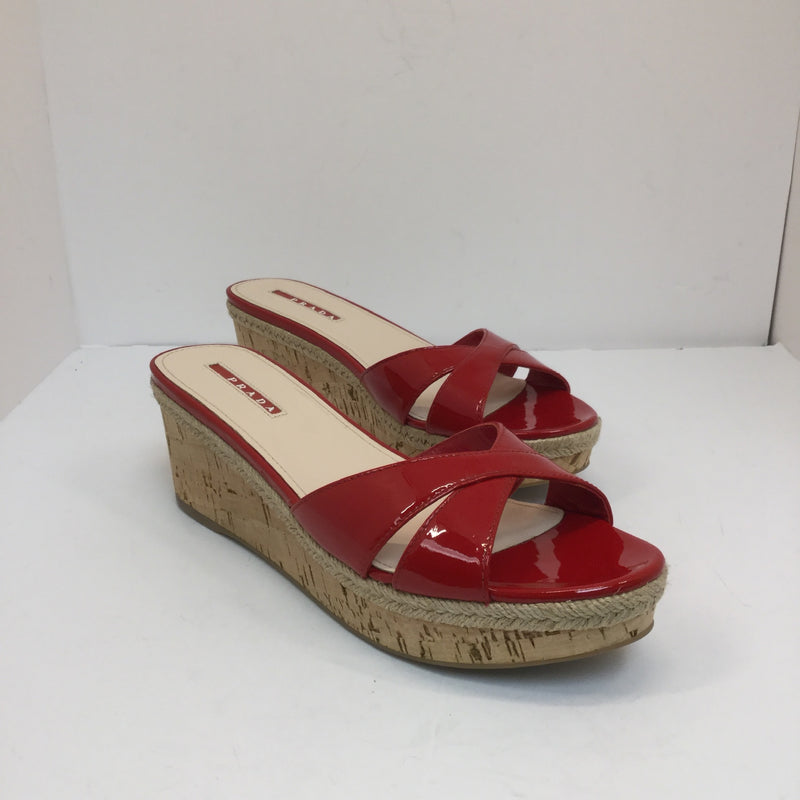Prada Red Patent Leather Crisscross Slip On Wedge- size 39