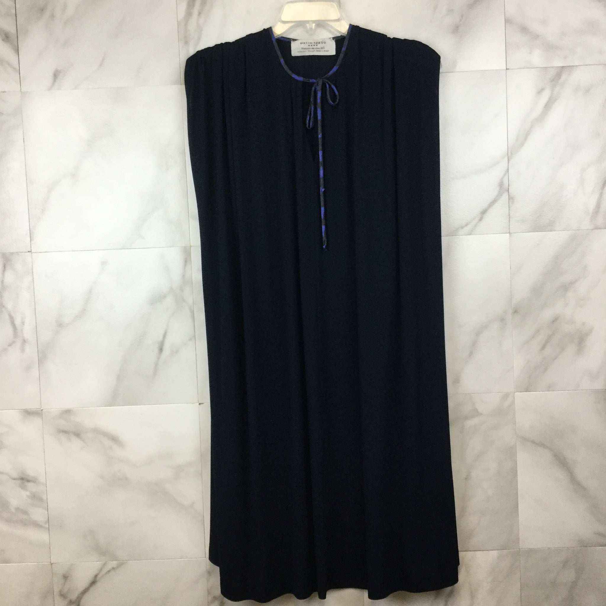David Szeto Navy Sleeveless Tent Dress- size 36