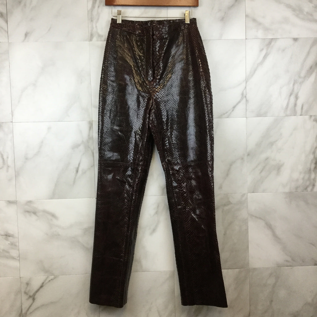 Christina Perrin Leather Faux Snakeskin Pants- size 8