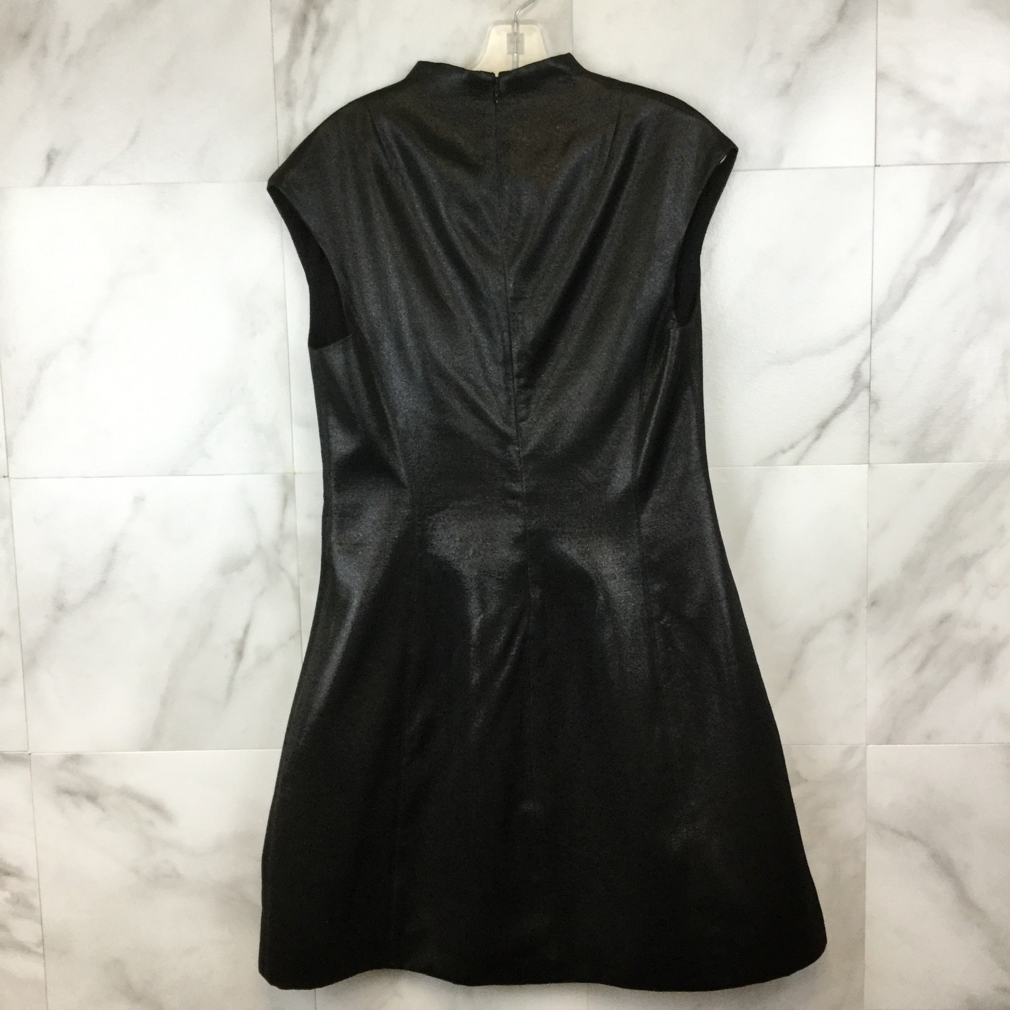 Halston Heritage Deep V Flare Black Metallic Dress- size 10