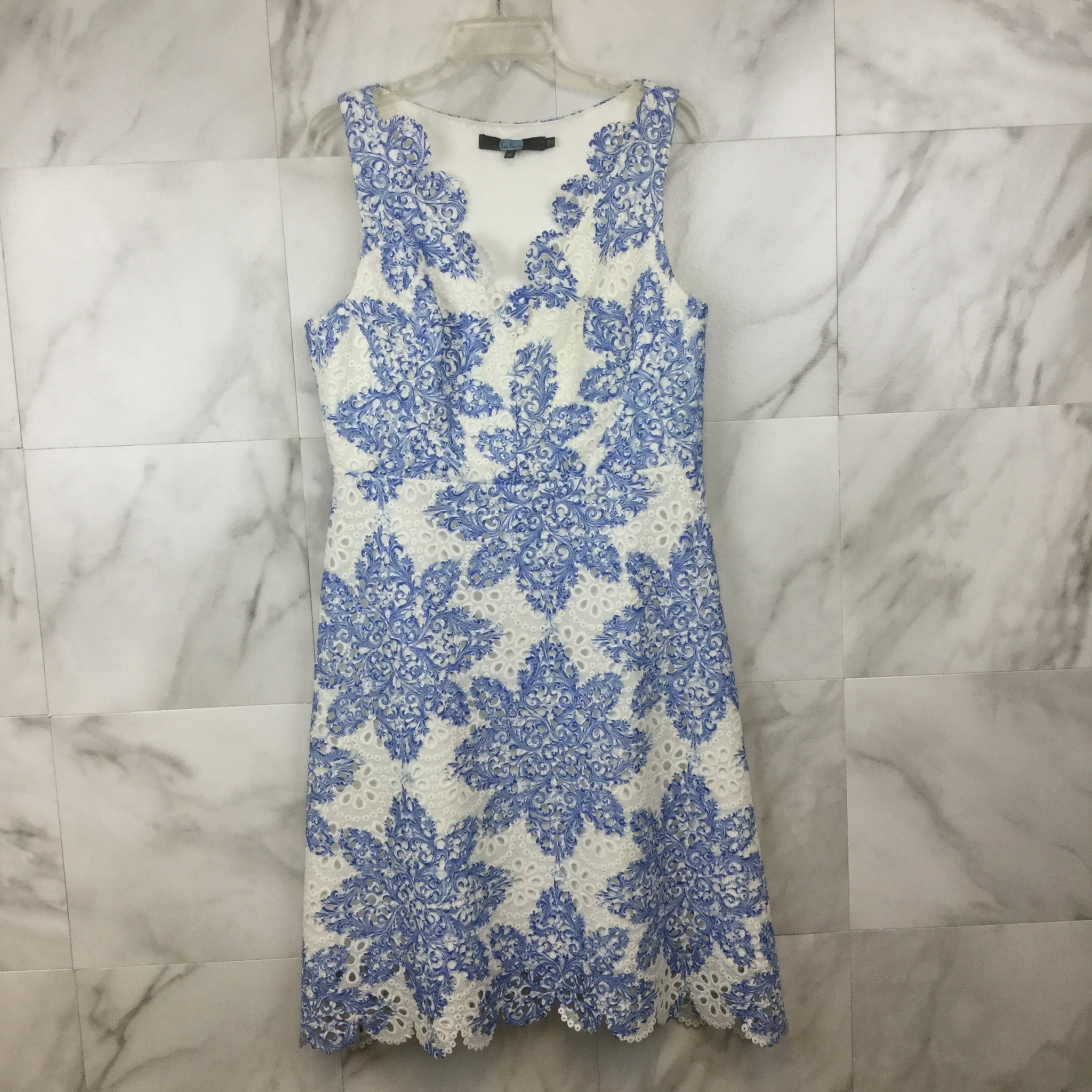 Eva Franco Blue Lace Sleeveless Dress- size 14