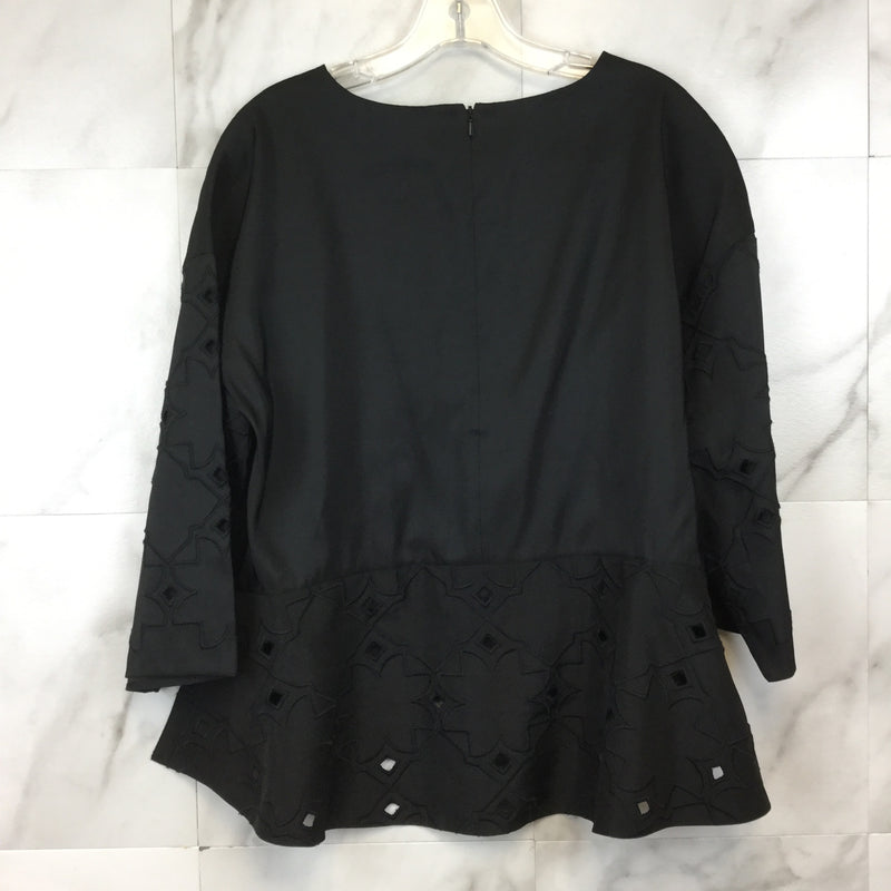 Tibi Black Flared High-Low Top- size S