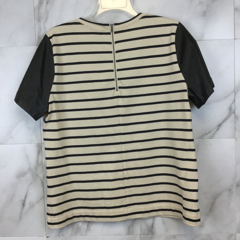 J. Crew Striped T-Shirt with Faux Leather Sleeves- size M