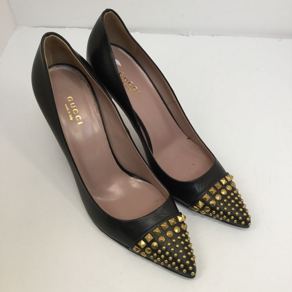 Gucci Coline Studded Cap Toe Pumps - 37.5