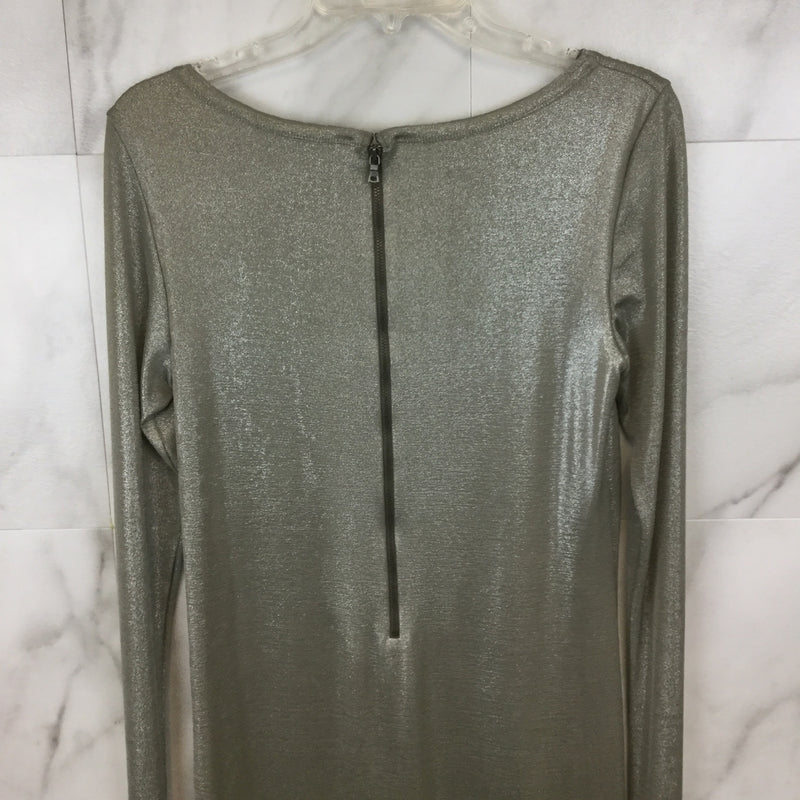 Alice + Olivia by Stacey Bendet Silver Tabitha Fitted Dress- size L