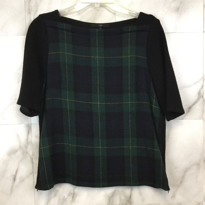 Tibi Green Plaid Boat Neck Top- size M