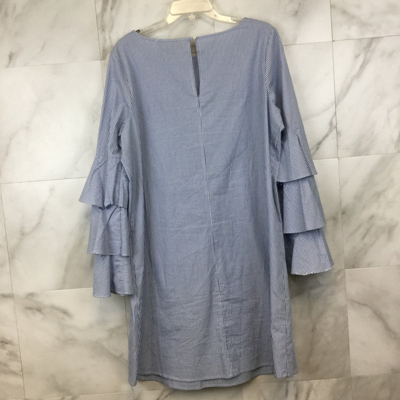 Philosophy Blue and White Dress with Ruffle Sleeves- size 12