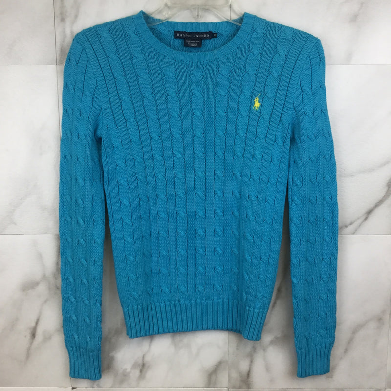 Ralph Lauren Turquoise Cable Knit Sweater- size XS