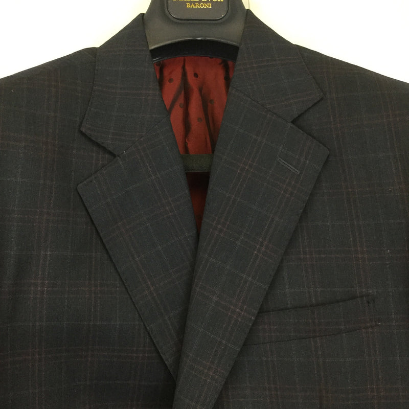 Mens Sam Surin Grey and Red Plaid Suit Set- size 37