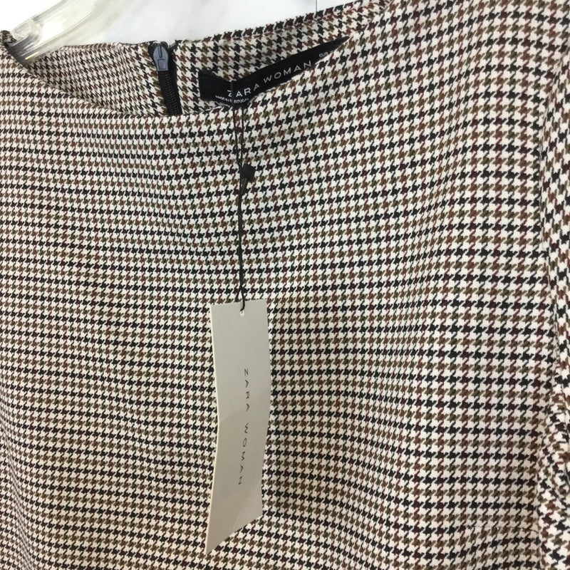 Zara Shift Dress in Neutral Colored Check Print- size XS