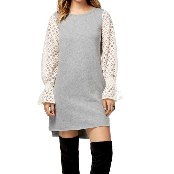 Kensie Grey T-Shirt and Lace Sweater Dress- size M