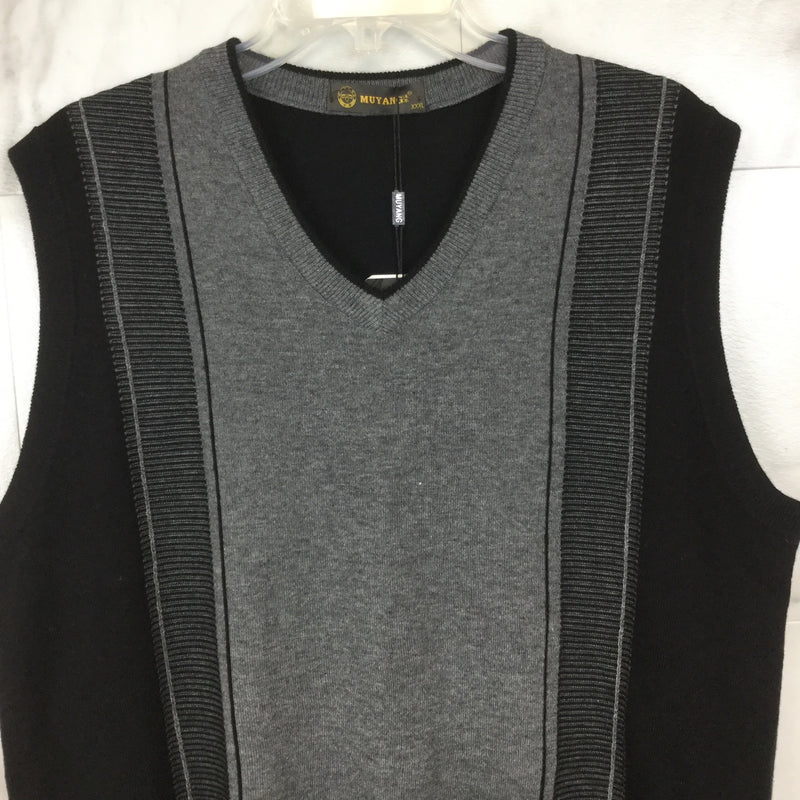 Muyang Men's Grey and Black Sweater Vest- size XL