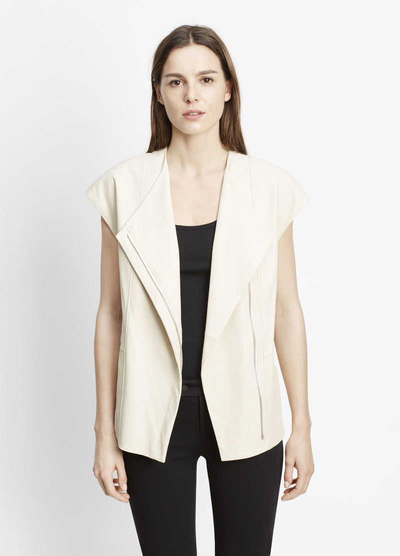 Vince Leather Cap Sleeve Jacket - S