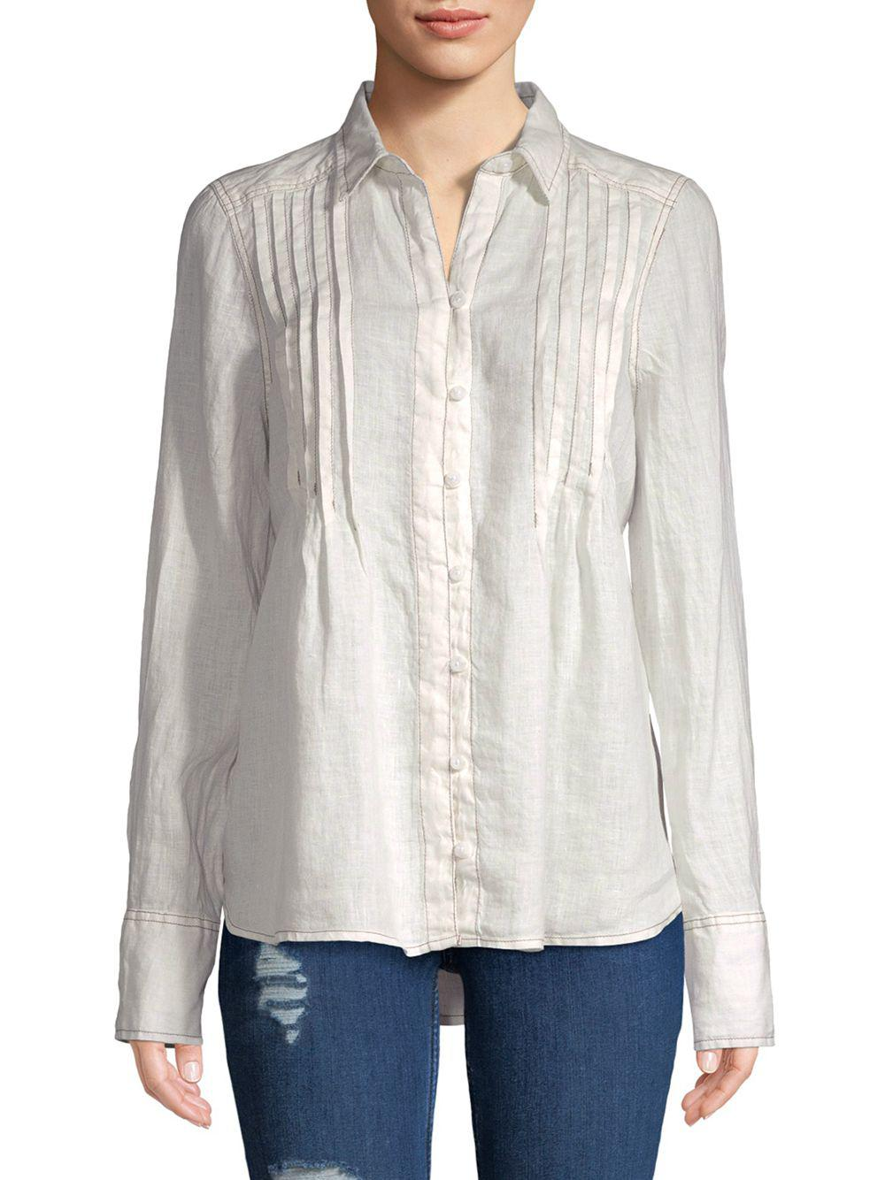 Free People Breezy Mornings Linen Button Down - S