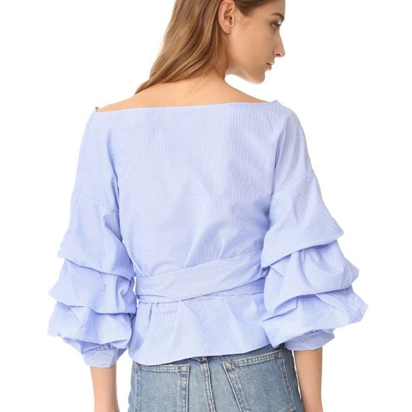 Luxe by Stylekeepers Tiered Sleeve Wrap Top - S