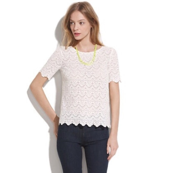 Madewell Broadway & Broome Scallop Lace Top - size L