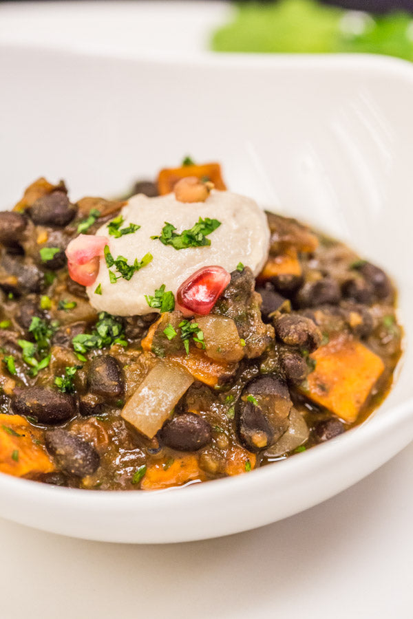 Bhakti Chai-infused Sweet Potato Black Bean Chili