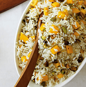 Chai Coconut Rice with Mangoes & Pistachios