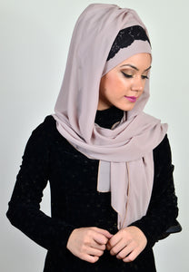 GUZZ - BEIGE COLOUR BLACK DANTEL READY SHAWL - iHijabStore I hijab shawl, hijab dress, hijab scarf, hijab accessories