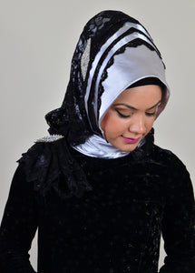 GUZZ  - PRACTICAL EVENING SCARF - SILVER - iHijabStore I hijab shawl, hijab dress, hijab scarf, hijab accessories
