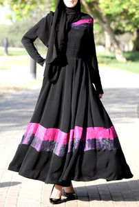 Fuchsia Ribbon Dress / Black Maxi Dress / Eid Dress / Hijab Dress / Modest Maxi Dress / Church Dress / Long Dress / Long Sleeves Maxi Dress - iHijabStore I hijab shawl, hijab dress, hijab scarf, hijab accessories