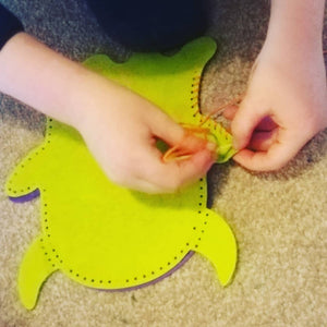 Monster hand puppet sewing kit for children