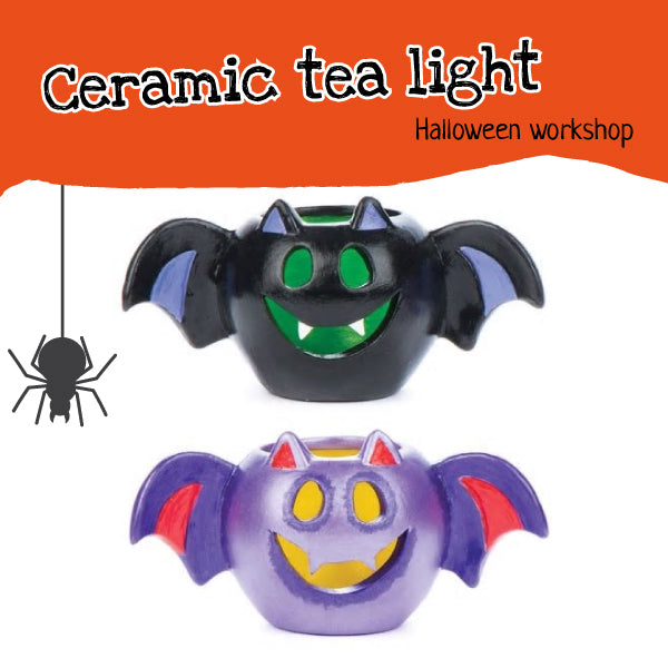 Halloween craft workshop for children - ceramic tea ligh decorating