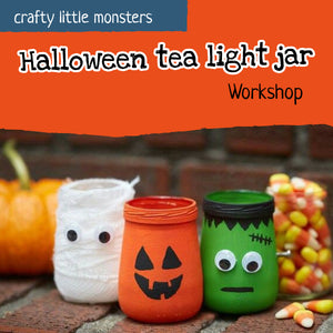 Halloween tea light jar craft workshop for children