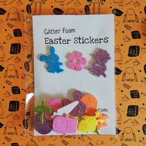 Easter shapes glitter foam stickers