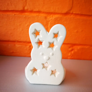 Childrens craft bunny ceramic tea light