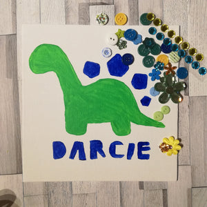 Children's Dino Button Art Craft Kit