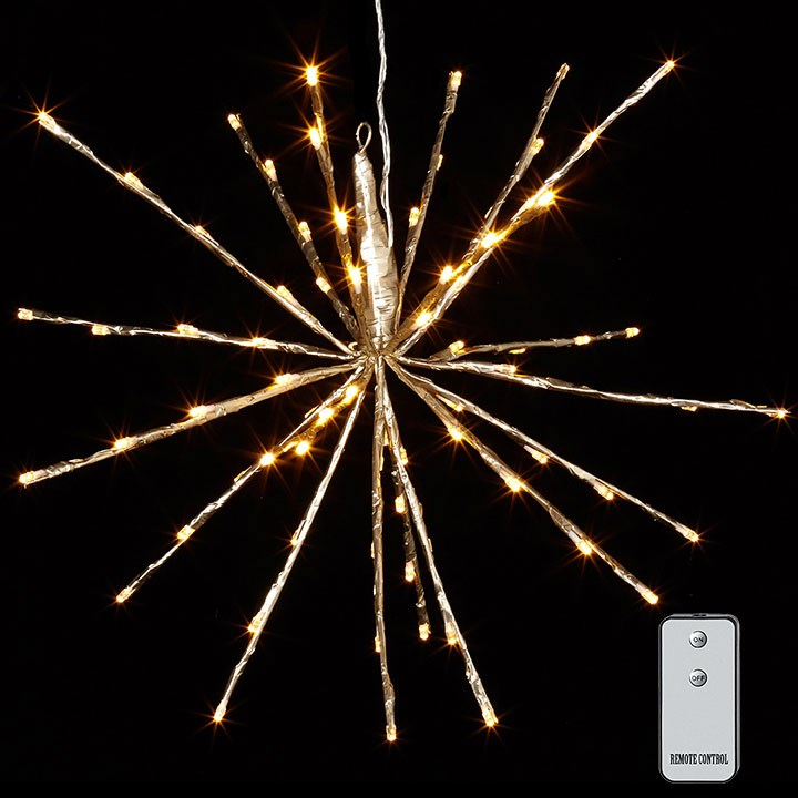 "18"" CHAMPAGNE STARBURST WITH 80 WARM WHITE LIGHTS AND REMOTE"