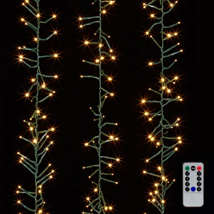 19.6' CLUSTER GARLAND GREEN WIRE W/ 600 WHITE LIGHT W/REMOTE