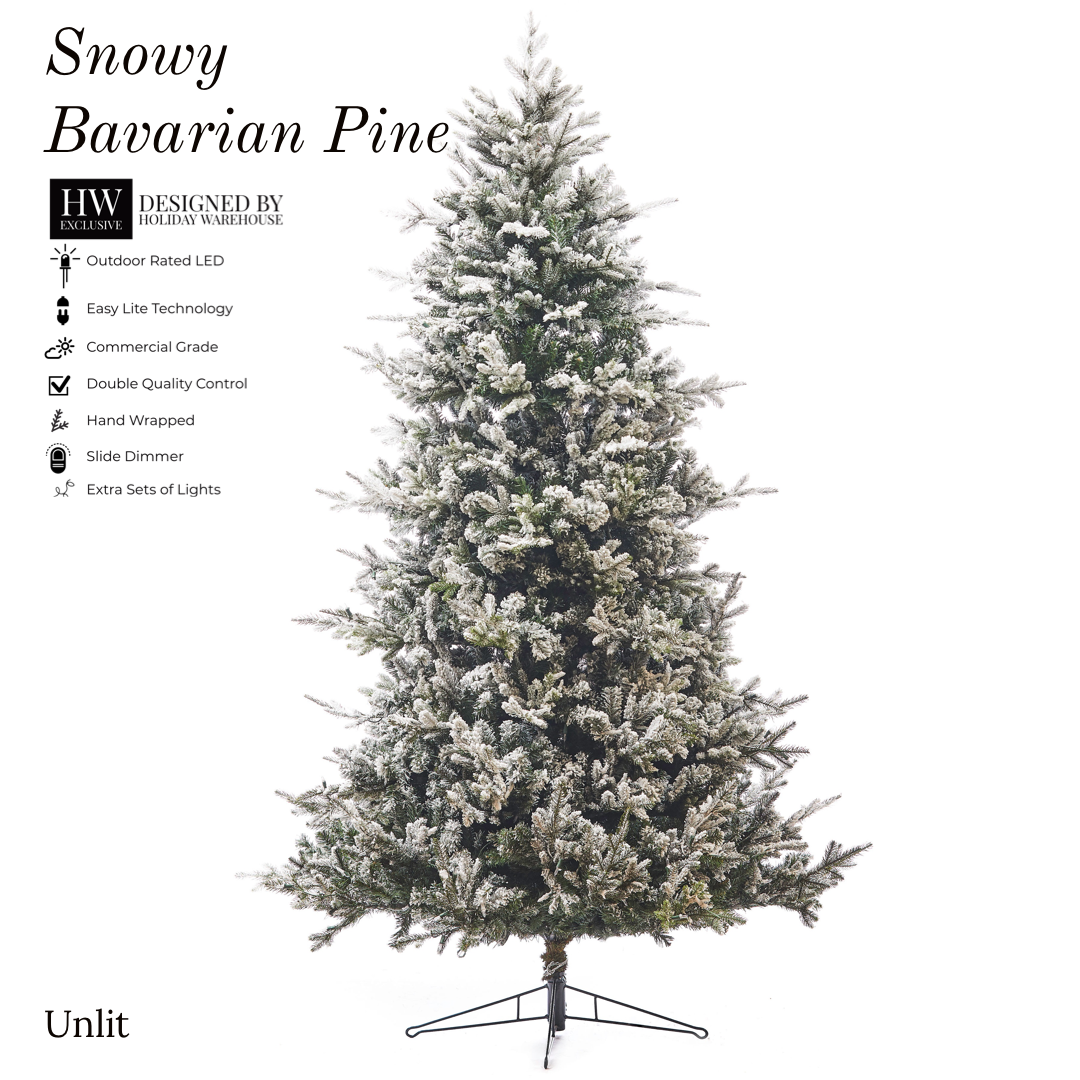 7.5ft Snowy Bavarian Pine Tree w/ WW LED Lights