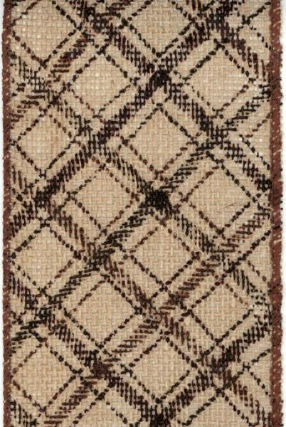 Brown Natural Printed Plaid Burlap Ribbon by D. Stevens
