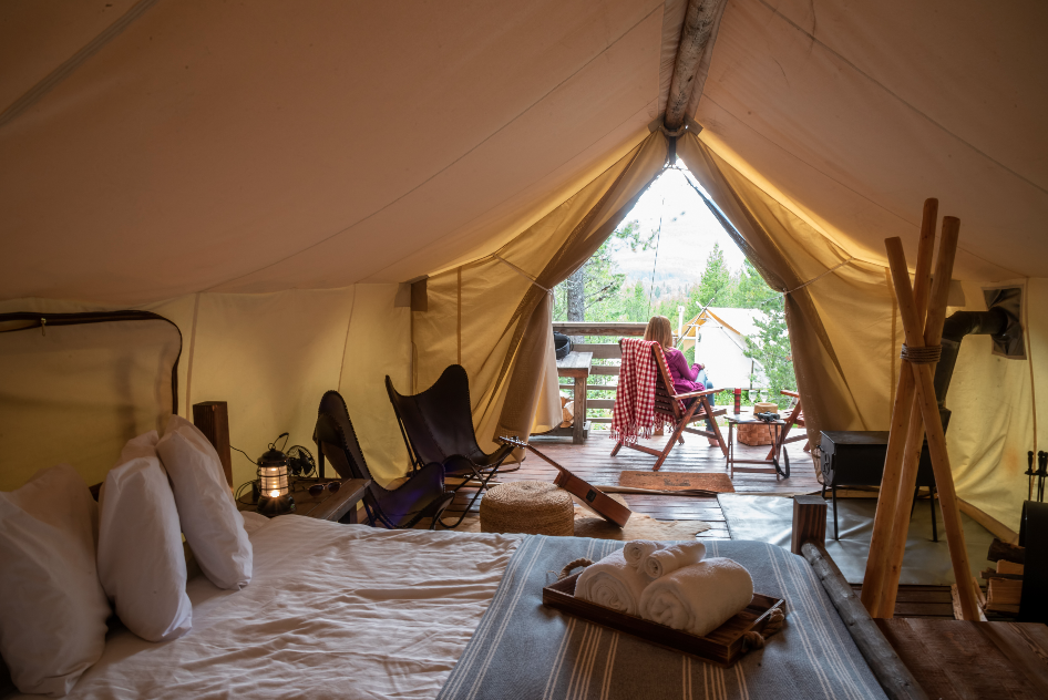 glamping in tent