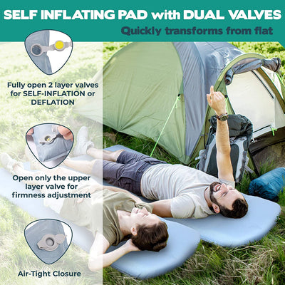 Self Inflating Sleeping Pad for Camping, 3'' Ultra Thick Camping Mat