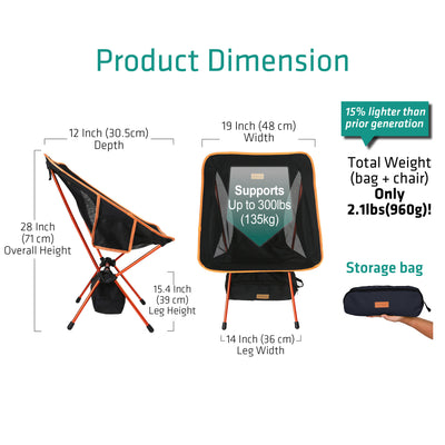 YIZI GO Compact Portable Camping Chair (Fixed Height)
