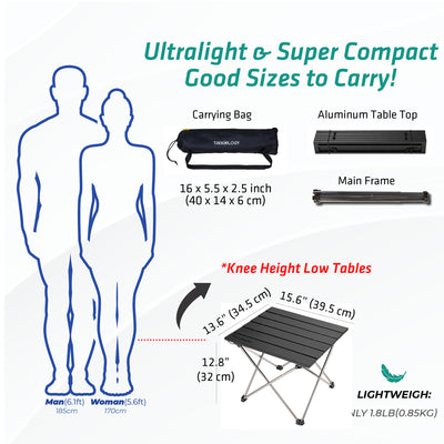 Small TALU: Portable Camping Table with Aluminum Table Top