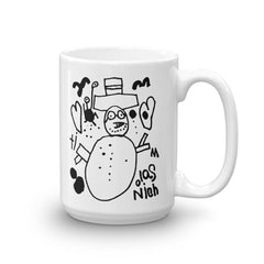 'Snowman with Two Hearts Takes a Vacation Day at Sunset Beach' Mug - 15 oz.