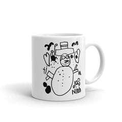 'Snowman with Two Hearts Takes a Vacation Day at Sunset Beach' Mug - 11 oz.