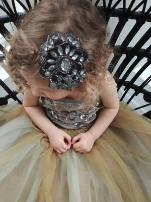 Copper & Grey Tutu Dress w/ Hair Piece