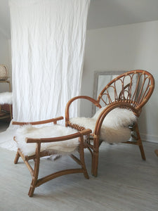 Vintage Bentwood Rattan Chair and Ottoman